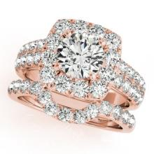 2.51 CTW Certified VS/SI Diamond 2pc Wedding Set Solitaire Halo 14K Gold - REF#-295K3W - 30889