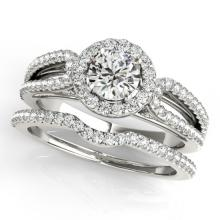 1.11 CTW Certified VS/SI Diamond 2pc Wedding Set Solitaire Halo 14K Gold - REF#-144X2T - 30870