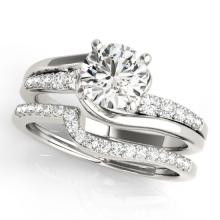 1.35 CTW Certified VS/SI Diamond Bypass Solitaire 2pc Wedding Set  Gold - REF#-214F7V - 31850