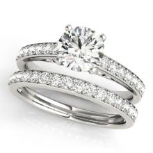 1.91 CTW Certified VS/SI Diamond Solitaire 2pc Wedding Set  14K Gold - REF#-401A5X - 31607