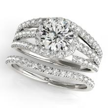 1.15 CTW Certified VS/SI Diamond Solitaire 2pc Wedding Set  14K Gold - REF#-152K7W - 32006