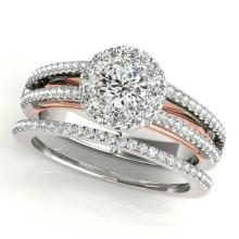 0.92 CTW Certified VS/SI Diamond 2pc Set Solitaire Halo 14K Two Tone Gold - REF#-121M8F - 31029