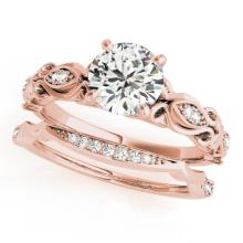 1.21 CTW Certified VS/SI Diamond Solitaire 2pc Wedding Set Antique Gold - REF#-381N6A - 31458