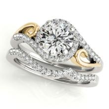 0.95 CTW Certified VS/SI Diamond 2pc Set Solitaire Halo 14K Two Tone Gold - REF#-130R2H - 31200