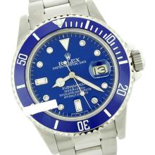 Rolex Men's Submariner, QuickSet, Diam Dial w/ Rotatable Blue Insert Bezel - REF#632F7W