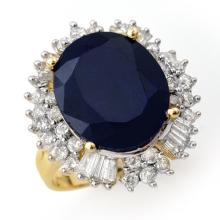 Genuine 16.66 ctw Blue Sapphire & Diamond Ring 14K Yellow Gold - 12935-#174A5N