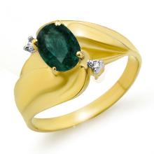 Natural 0.85 ctw Emerald & Diamond Ring 10K Yellow Gold - 12744-#17R2H