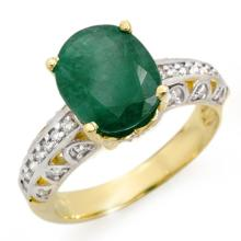 Genuine 3.83 ctw Emerald & Diamond Ring 10K Yellow Gold - 14029-#44A2N