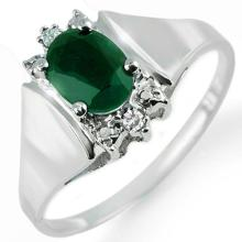 Natural 1.10 ctw Emerald & Diamond Ring 10K White Gold - 14210-#18X2Y