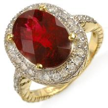 Natural 5.50 ctw Rubellite & Diamond Ring 14K Yellow Gold - 10980-#167V5A