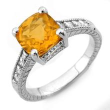 Natural 3.25 ctw Citrine & Diamond Ring 14K White Gold - 11004-#37X2Y