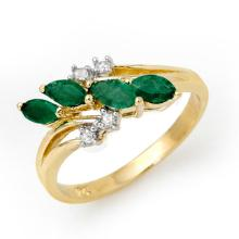 Natural 0.40 ctw Emerald & Diamond Ring 10K Yellow Gold - 13082-#20H2W