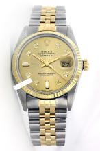 Rolex Men's 2Tone 14K Gold/ SS, QuickSet, Diamond Dial Fluted Bezel - REF#354V5H