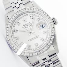Rolex Men's Stainless Steel, QuickSet, Diamond Dial & Diamond Bezel - REF#485N5J