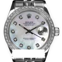 Rolex Men's Stainless Steel, QuickSet, Diamond Dial & Diamond Bezel - REF#458V2H