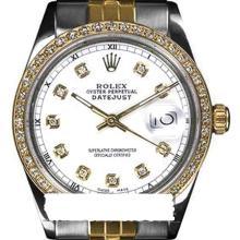 Rolex Men's 2Tone 14K Gold/ SS, QuickSet, Diamond Dial & Diamond Bezel - REF#458J2Y