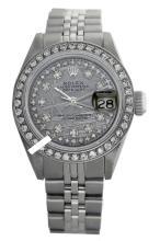 Rolex Men's Stainless Steel, QuickSet, Diamond Dial & Diamond Bezel - REF#458Z2F
