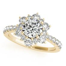 2.19 CTW Certified VS/SI Diamond Bridal Solitaire Halo Ring 18K Yellow Gold - REF#-530N2A - 26508