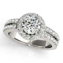 1.5 CTW Certified VS/SI Diamond Bridal Solitaire Halo Ring 18K White Gold Gold - REF#-423M6F - 26739