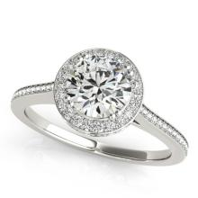 2.03 CTW Certified VS/SI Diamond Bridal Solitaire Halo Ring 18K White Gold - REF#-619W7G - 26368