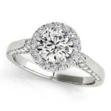 2.15 CTW Certified VS/SI Diamond Bridal Solitaire Halo Ring 18K White Gold - REF#-613R5H - 26386