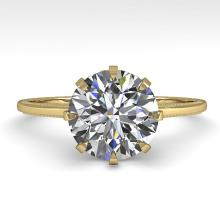 2.03 CTW CERTIFIED VS/SI DIAMOND ENGAGMENT RING 18K SIZE 7 Gold - REF#-947N4A - 35770