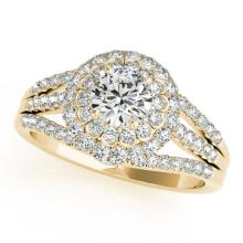 1.25 CTW Certified VS/SI Diamond Bridal Solitaire Halo Ring 18K Yellow Gold - REF#-174R5H - 26577