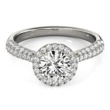 1.4 CTW Certified VS/SI Diamond Bridal Solitaire Halo Ring 18K White Gold Gold - REF#-380M2F - 26185