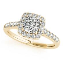 1.16 CTW Certified VS/SI Cushion Diamond Bridal Solitaire Halo Ring 18K Gold - REF#-236M5R - 27125