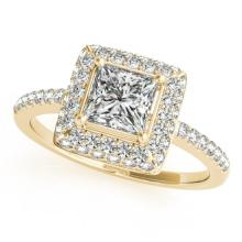 1.05 CTW Certified VS/SI Princess Diamond Bridal Solitaire Halo Ring 18K Gold - REF#-229W5G - 27143