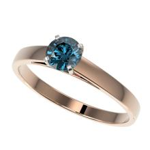 .54 CTW Certified Intense Blue SI Diamond Solitaire Engagment Ring Gold - REF#-51W3G - 36468