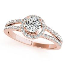 1 CTW Certified VS/SI Diamond Bridal Solitaire Halo Ring 18K Rose Gold Gold - REF#-196H9M - 26680
