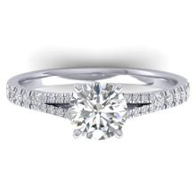 1.36 CTW CERTIFIED VS/SI DIAMOND SOLITAIRE ART DECO RING 14K Gold - REF#-353A3X - 30375
