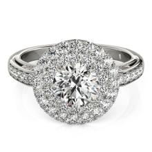 2.25 CTW Certified VS/SI Diamond Bridal Solitaire Halo Ring 18K White Gold - REF#-481H5M - 26880