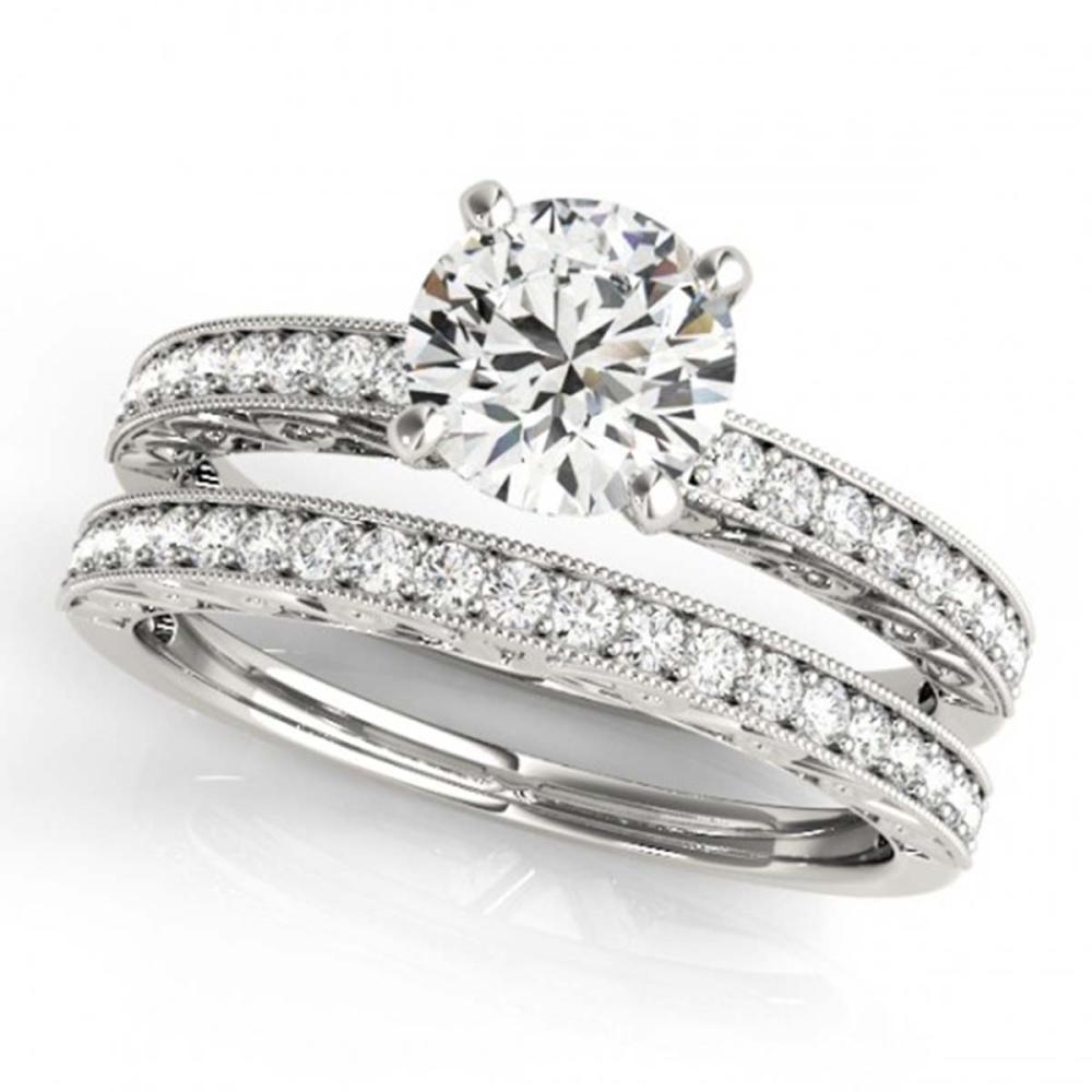 0.90 ctw VS/SI Diamond 2pc Wedding Set 14K White Gold - REF-107N7A - SKU:31430