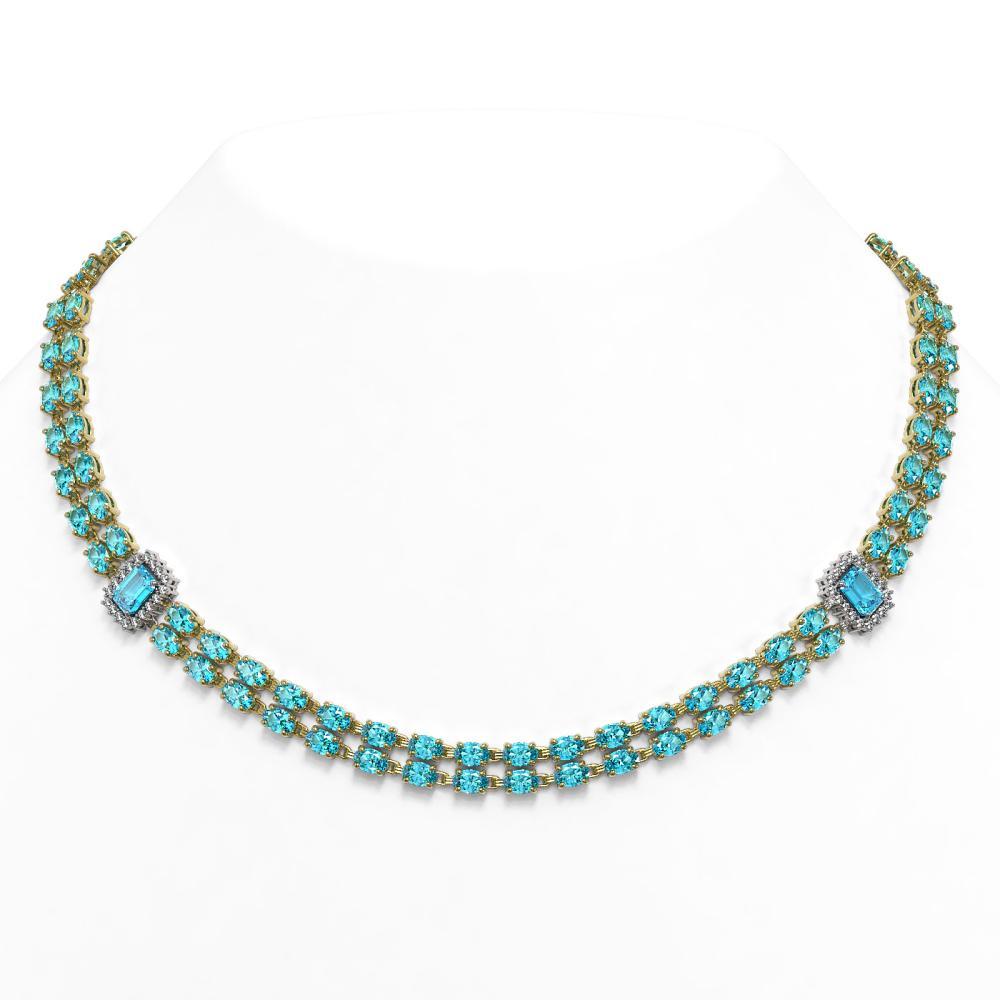 37.66 ctw Swiss Topaz & Diamond Necklace 14K Yellow Gold - REF-385X6R - SKU:45001