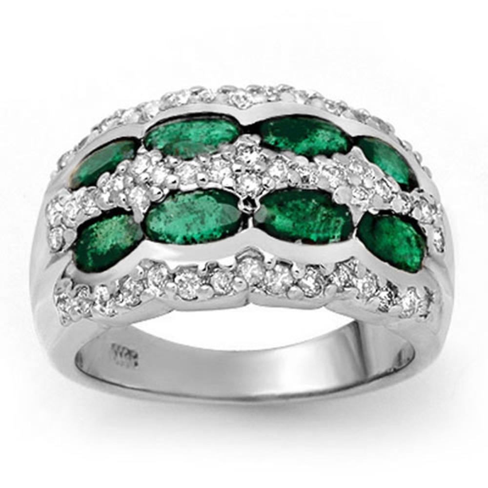 2.25 ctw Emerald & Diamond Ring 14K White Gold - REF-105F5N - SKU:13982
