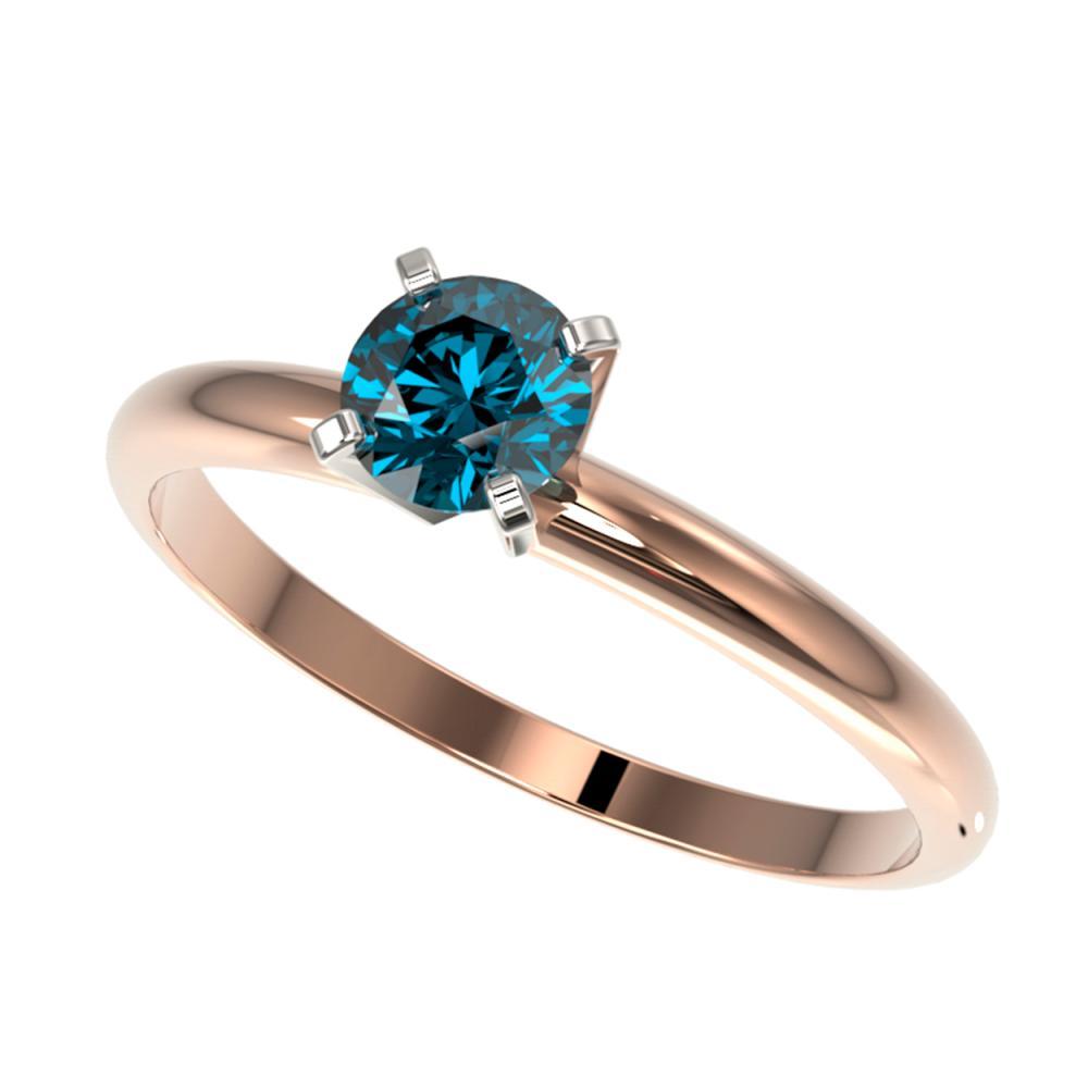 0.55 ctw Intense Blue Diamond Ring 10K Rose Gold - REF-58M5F - SKU:36379