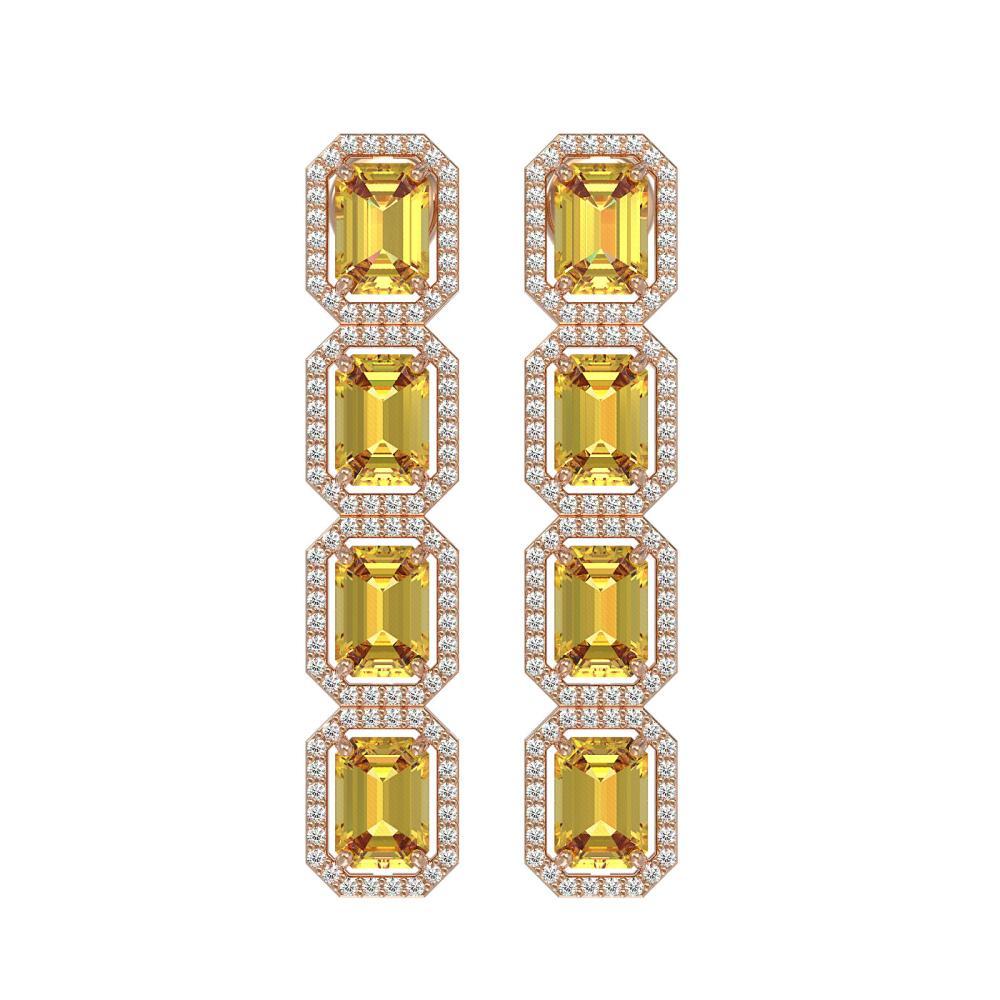 11.18 ctw Fancy Citrine & Diamond Halo Earrings 10K Rose Gold - REF-147X5R - SKU:41469