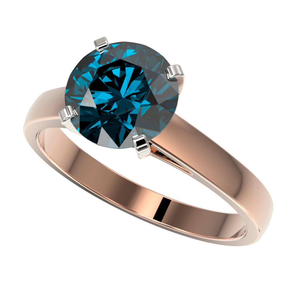 2.50 ctw Intense Blue Diamond Ring 10K Rose Gold - REF-555K2W - SKU:33046