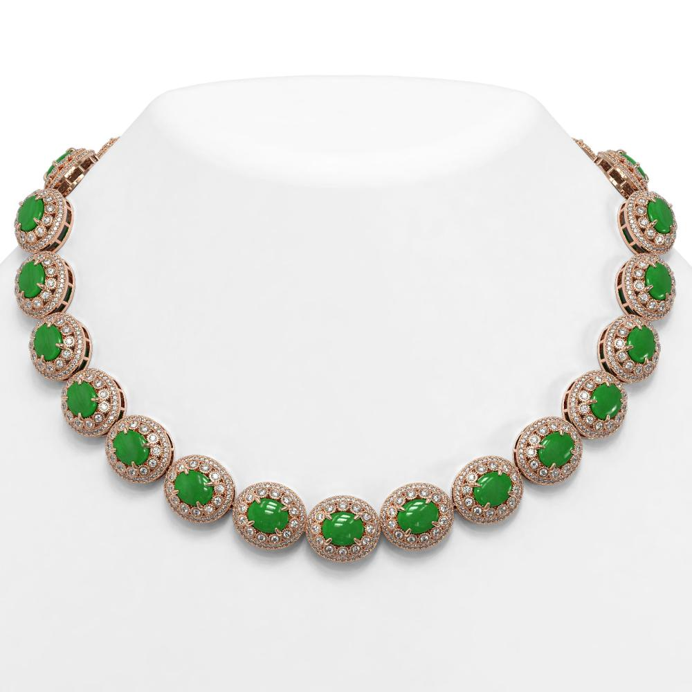 101.75 ctw Jade & Diamond Necklace 14K Rose Gold - REF-2594A5V - SKU:46120