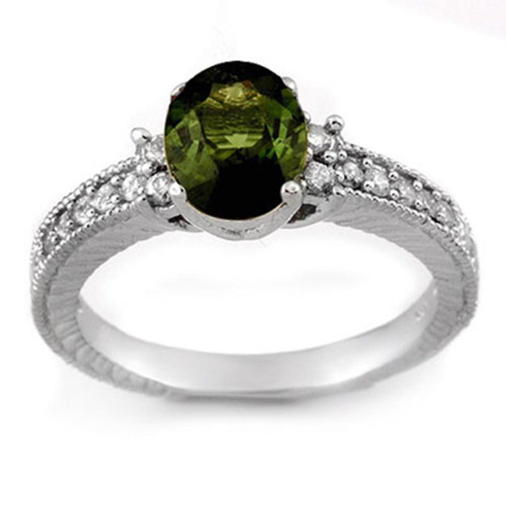 Lot 6016: 2.17 ctw Green Tourmaline & Diamond Ring 14K White Gold - REF-58Y5X - SKU:11442