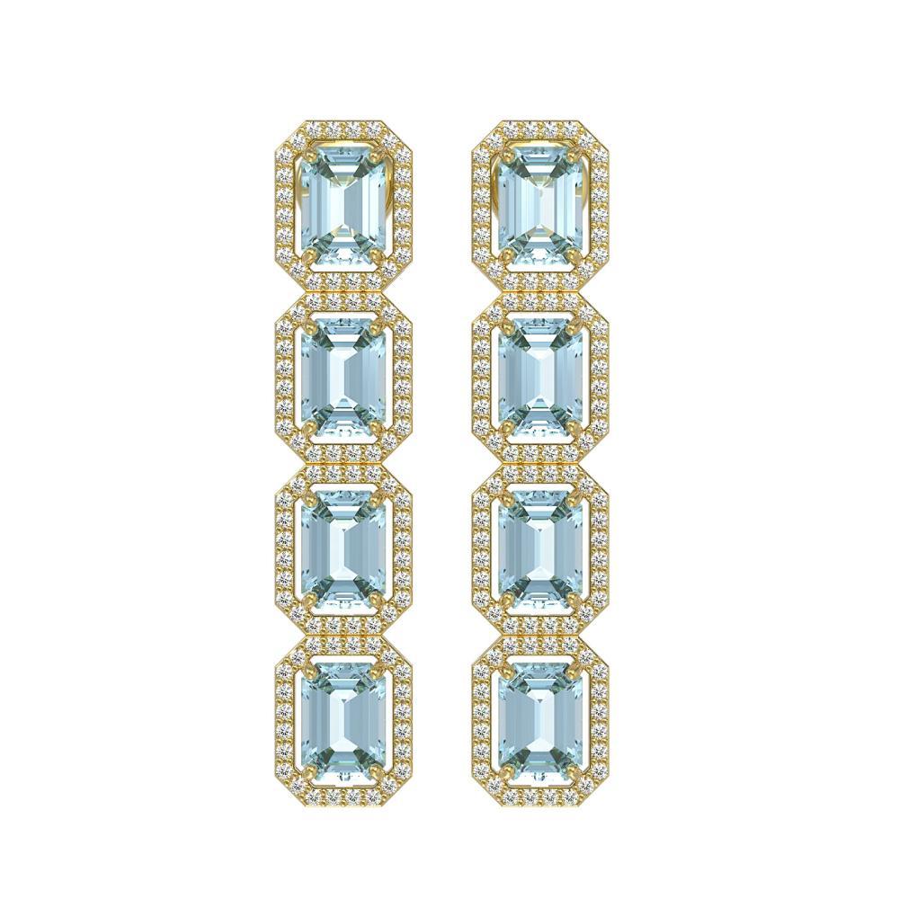 11.54 ctw Aquamarine & Diamond Halo Earrings 10K Yellow Gold - REF-193M3F - SKU:41452