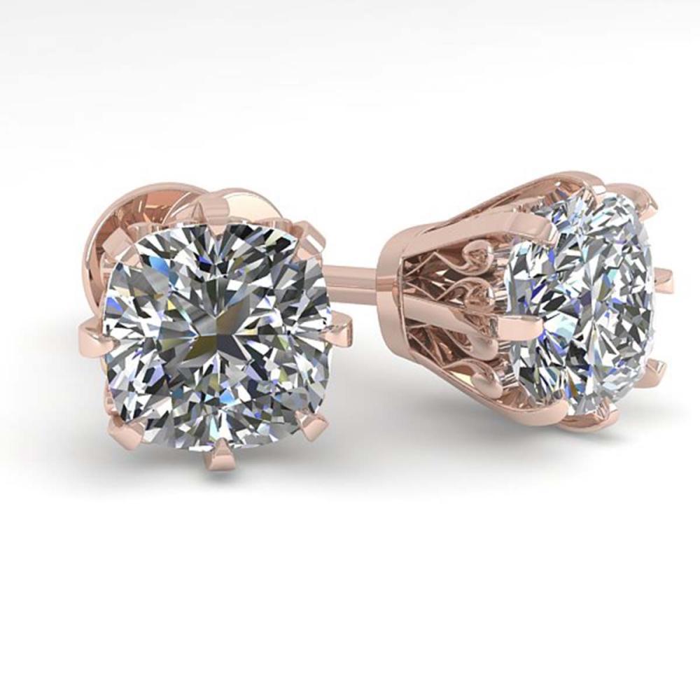1.0 ctw VS/SI Cushion Cut Diamond Stud Earrings 18K Rose Gold - REF-147F2N - SKU:35675