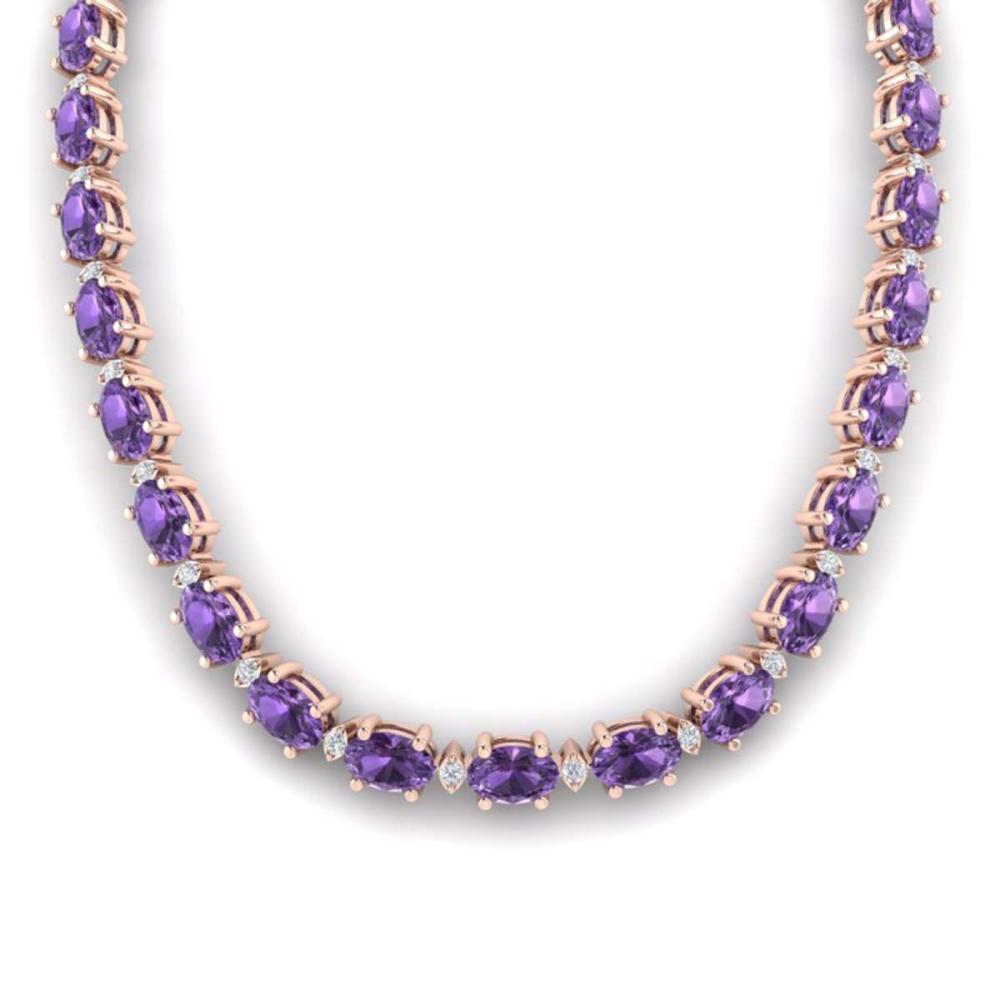46.5 ctw Amethyst & VS/SI Diamond Eternity Necklace 10K Rose Gold - REF-226K2W - SKU:29414
