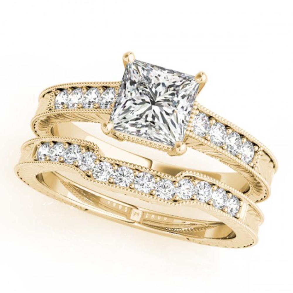 0.86 ctw VS/SI Princess Diamond 2pc Set 14K Yellow Gold - REF-115H4M - SKU:31417