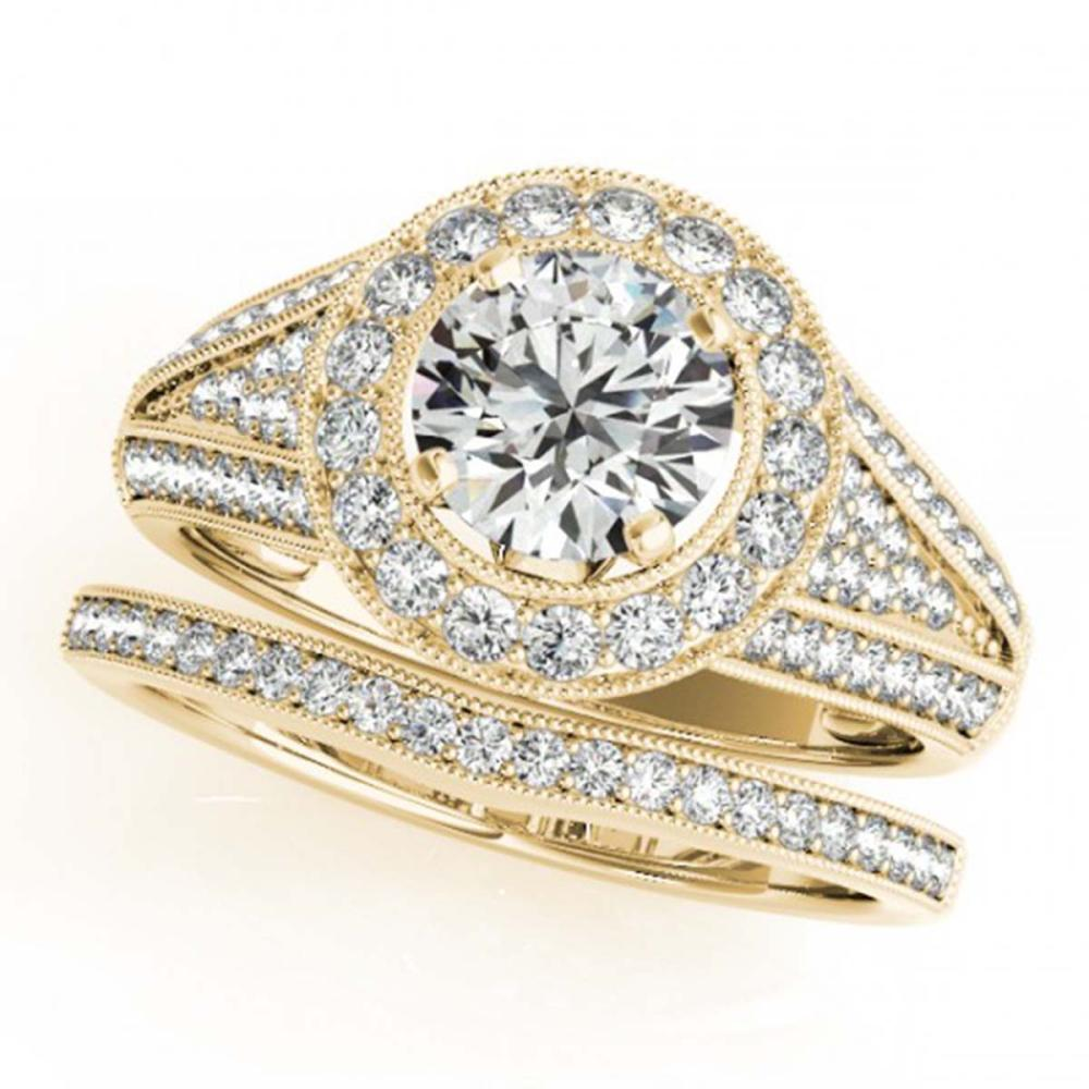 1.60 ctw VS/SI Diamond 2pc Wedding Set Halo 14K Yellow Gold - REF-184K3W - SKU:31114