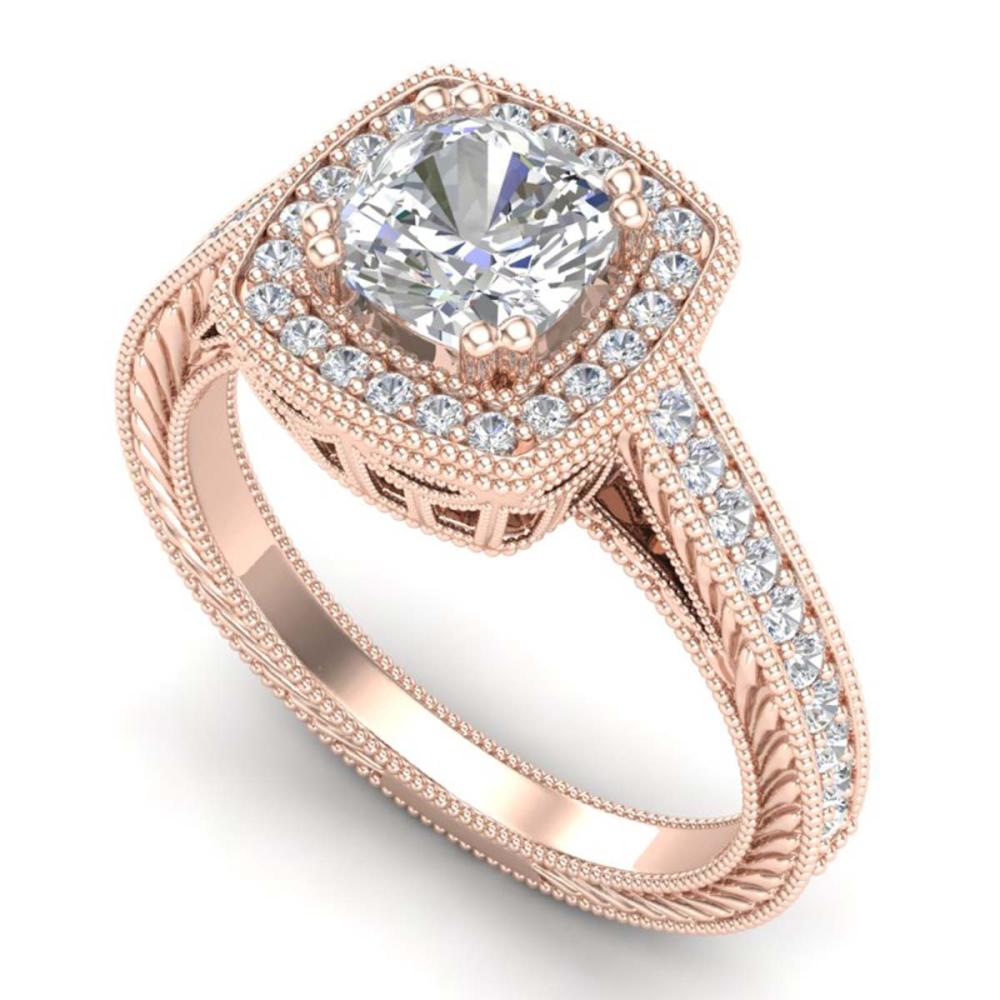 1.77 ctw VS/SI Cushion Diamond Solitaire Art Deco Ring 18K Rose Gold - REF-459F3N - SKU:37032