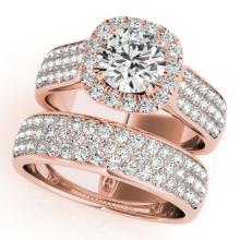 Lot 6046: 2.59 ctw VS/SI Diamond 2pc Wedding Set Halo 14K Rose Gold - REF-356K6W - SKU:31167