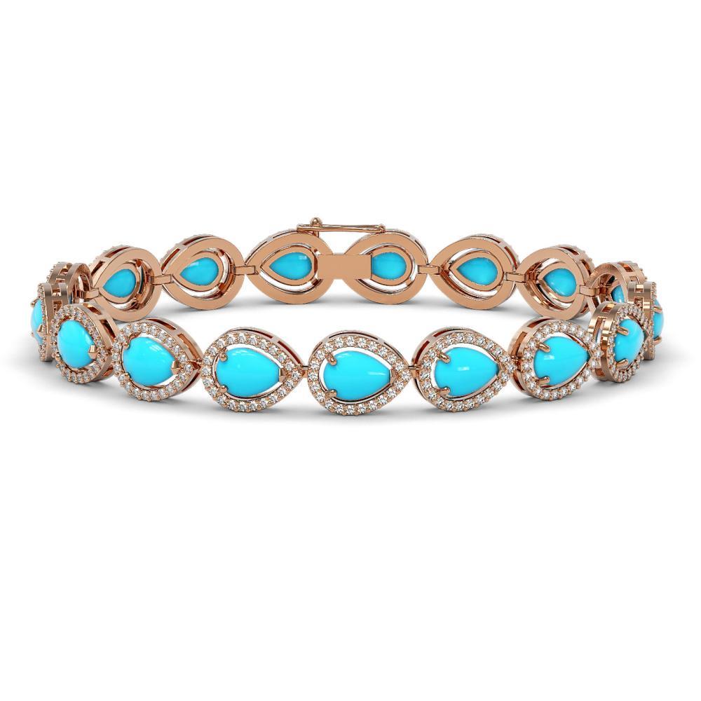 13.19 ctw Turquoise & Diamond Halo Bracelet 10K Rose Gold - REF-305X8R - SKU:46046